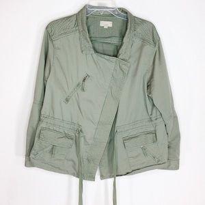 Loft Sage Green Asymmetrical Jacket